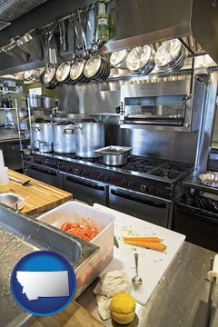 a restaurant kitchen - with Montana icon