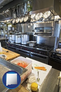 a restaurant kitchen - with New Mexico icon