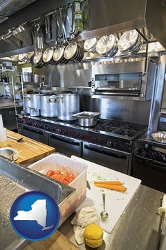 a restaurant kitchen - with New York icon