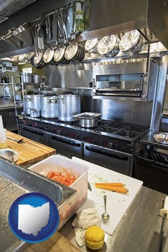 a restaurant kitchen - with Ohio icon