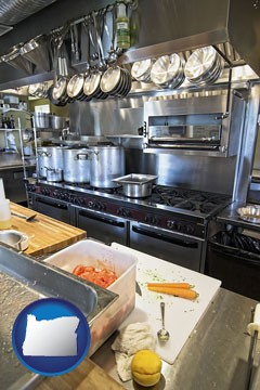 a restaurant kitchen - with Oregon icon