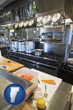a restaurant kitchen - with Vermont icon