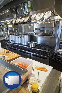 a restaurant kitchen - with Washington icon