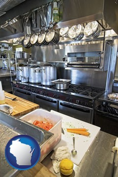 a restaurant kitchen - with Wisconsin icon