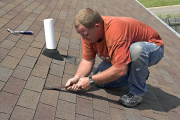 a roofing project contractor and equipment