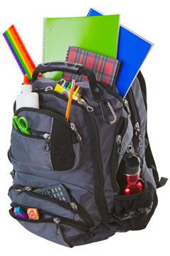a backpack filled with school supplies