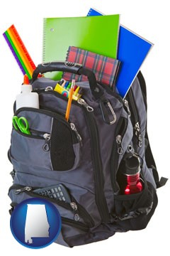 a backpack filled with school supplies - with Alabama icon