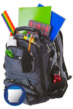 a backpack filled with school supplies - with Arkansas icon