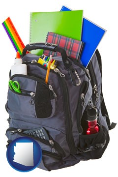 a backpack filled with school supplies - with Arizona icon