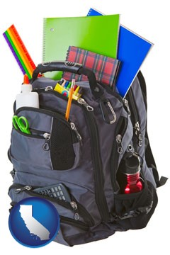 a backpack filled with school supplies - with California icon