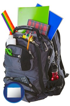 a backpack filled with school supplies - with Colorado icon