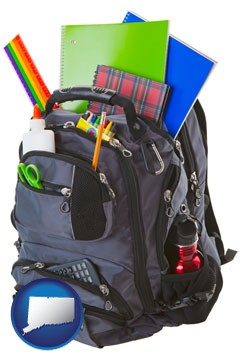 a backpack filled with school supplies - with Connecticut icon