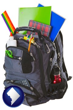 a backpack filled with school supplies - with Washington, DC icon