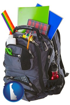 a backpack filled with school supplies - with Delaware icon