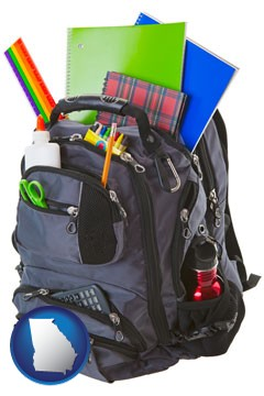 a backpack filled with school supplies - with Georgia icon