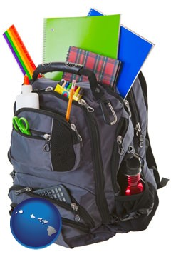 a backpack filled with school supplies - with Hawaii icon