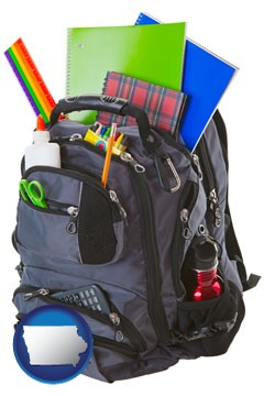 a backpack filled with school supplies - with Iowa icon