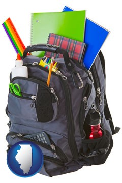 a backpack filled with school supplies - with Illinois icon