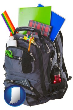 a backpack filled with school supplies - with Indiana icon