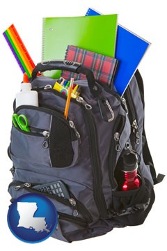 a backpack filled with school supplies - with Louisiana icon