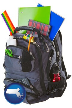 a backpack filled with school supplies - with Massachusetts icon