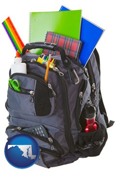 a backpack filled with school supplies - with Maryland icon