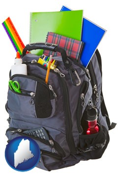 a backpack filled with school supplies - with Maine icon