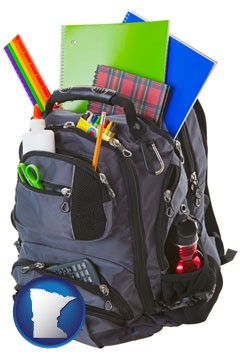 a backpack filled with school supplies - with Minnesota icon