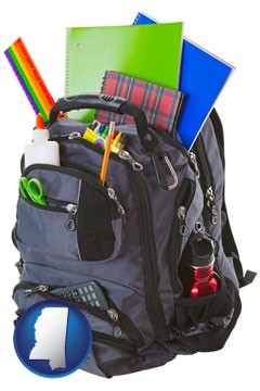 a backpack filled with school supplies - with Mississippi icon
