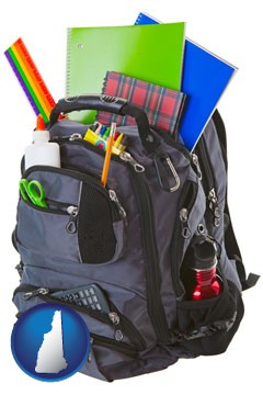 a backpack filled with school supplies - with New Hampshire icon