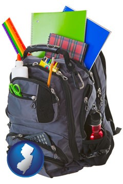 a backpack filled with school supplies - with New Jersey icon