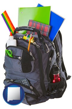 a backpack filled with school supplies - with New Mexico icon