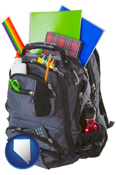 a backpack filled with school supplies - with Nevada icon