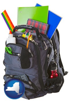 a backpack filled with school supplies - with New York icon
