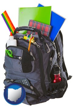 a backpack filled with school supplies - with Ohio icon