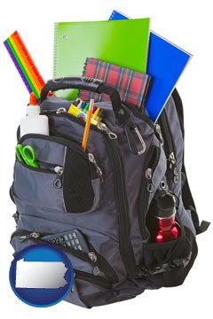 a backpack filled with school supplies - with Pennsylvania icon