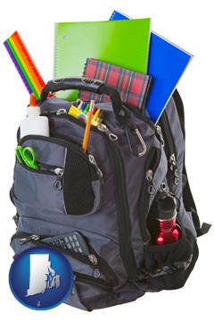 a backpack filled with school supplies - with Rhode Island icon