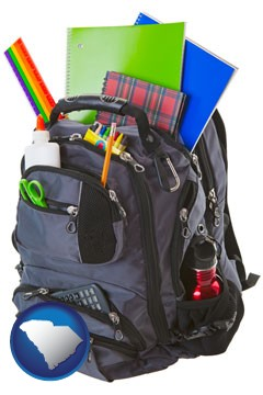 a backpack filled with school supplies - with South Carolina icon