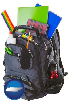 a backpack filled with school supplies - with Tennessee icon