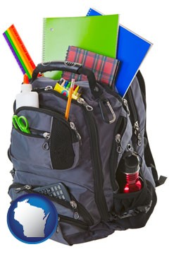 a backpack filled with school supplies - with Wisconsin icon