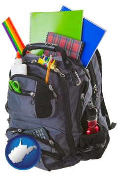 a backpack filled with school supplies - with West Virginia icon