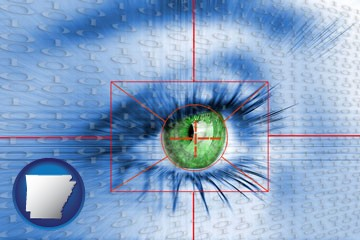 an iris-scanning security system - with Arkansas icon