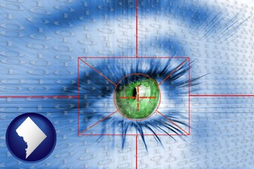 an iris-scanning security system - with Washington, DC icon