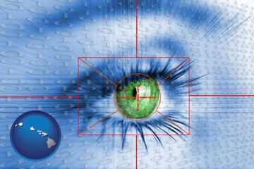 an iris-scanning security system - with Hawaii icon