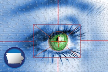 an iris-scanning security system - with Iowa icon