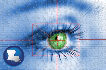 an iris-scanning security system - with Louisiana icon