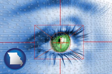 an iris-scanning security system - with Missouri icon