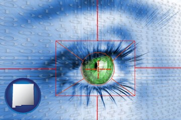 an iris-scanning security system - with New Mexico icon