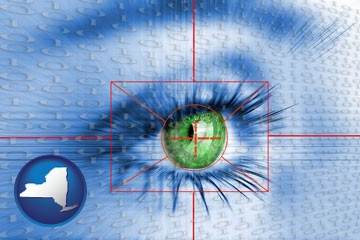 an iris-scanning security system - with New York icon