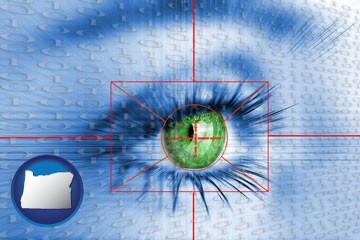 an iris-scanning security system - with Oregon icon